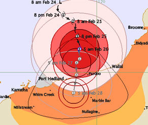 BCyclone Rustys path Picture Bureau of Meteorology