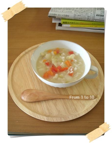 麦入り野菜スープ