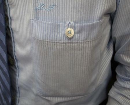シャツの胸ポケットにチー(輪っか)を付けました
