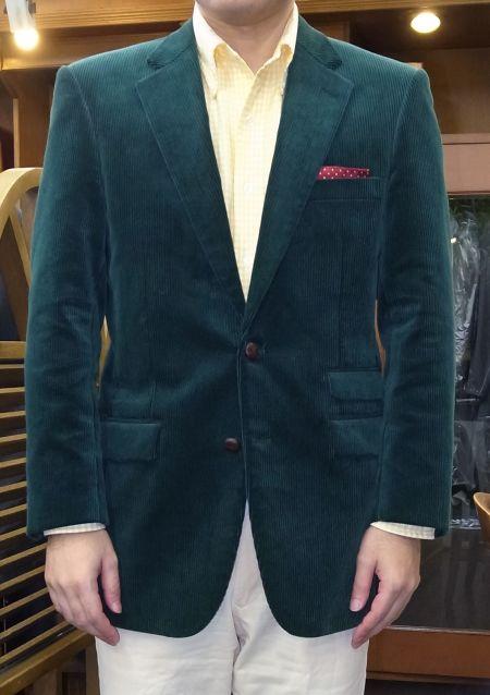 コーデュロイ緑のオーダージャケット