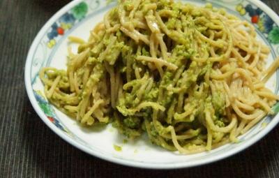 全粒粉 有機パスタの小松菜ジェノベーゼ