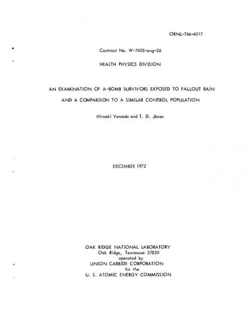 オークリッジリポート2ExaminationOfA-BombSurvivorsExposedToFalloutRainAndComparisonToSimilarControlPopulations-ORNL-TM-4017