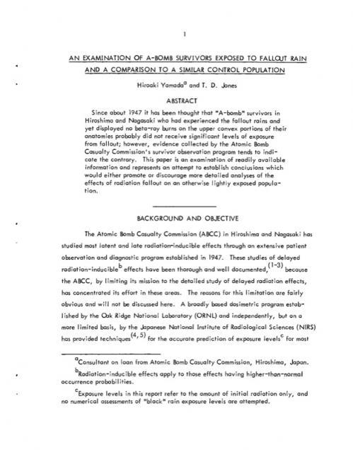 オークリッジリポート3ExaminationOfA-BombSurvivorsExposedToFalloutRainAndComparisonToSimilarControlPopulations-ORNL-TM-4017