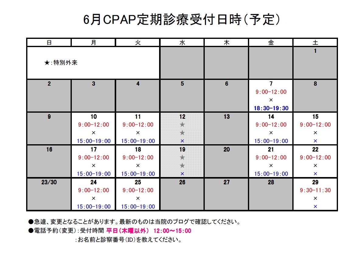 2013年6月CPAP定期診療受付日時2