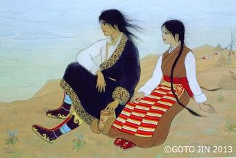 絵本『犬になった王子 チベットの民話』表紙原画部分