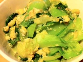 チンゲン菜と卵のウォーターソテー