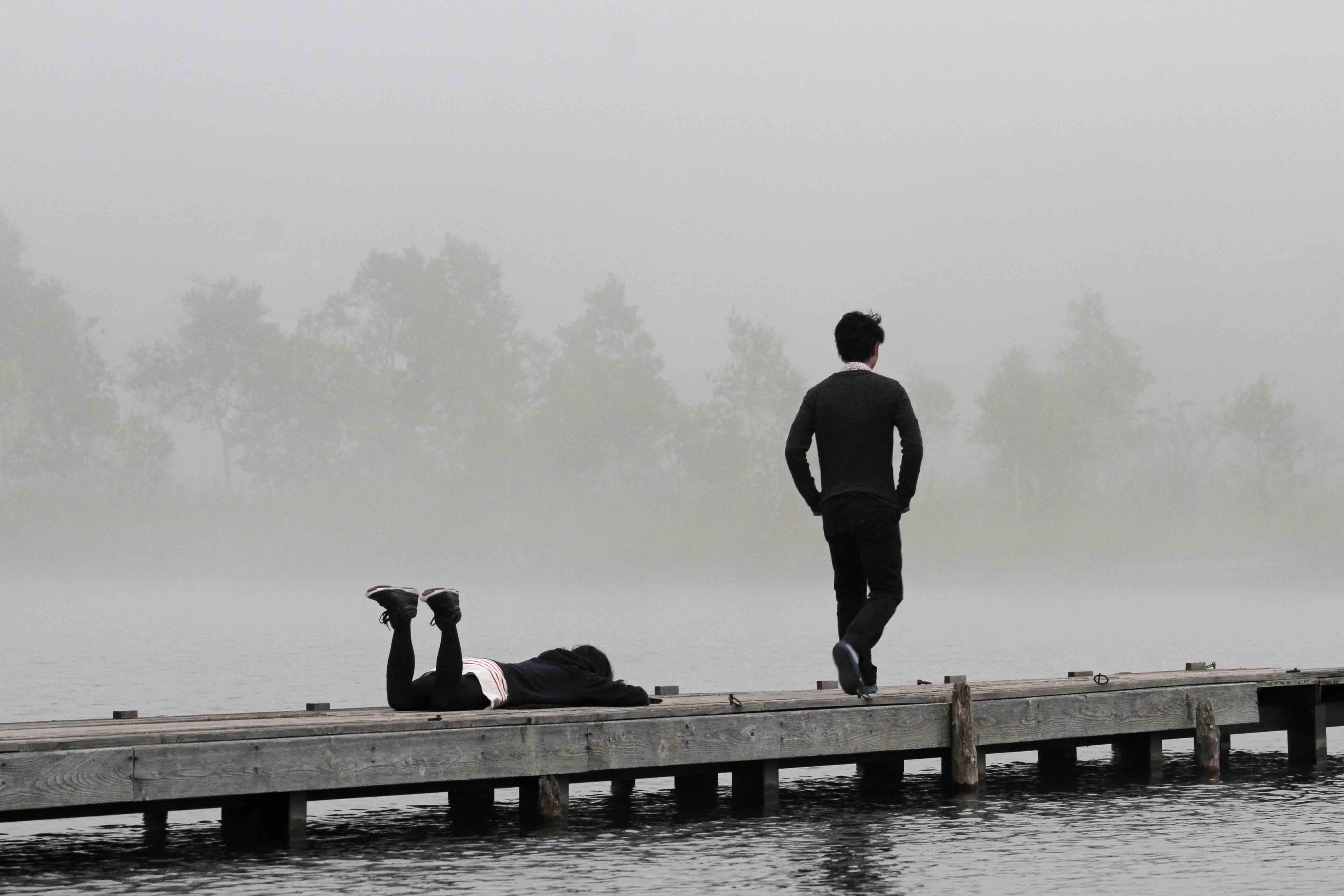 ブログ白樺湖二人こける