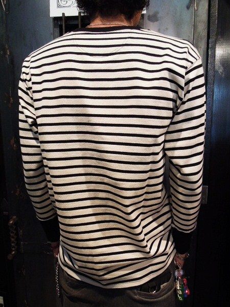 DAPPER'S HENLEY NECK L/S BORDER TEE