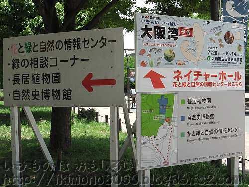 長居公園の植物園分岐の角に立つ看板