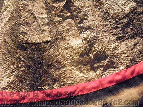 サケの革で作られたサハリンアイヌの服のアップ