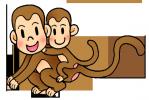 イラスト素材-猿の親子