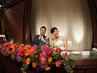 たっきー結婚式二人ピース