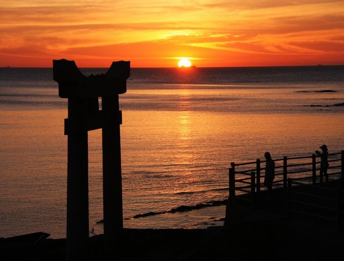 狩尾岬の夕日