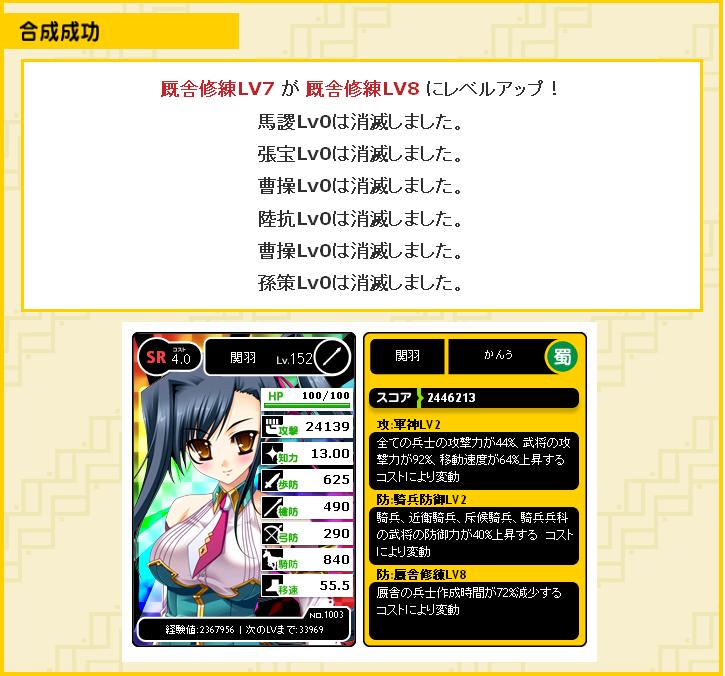 4コス厩舎修練7→8