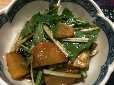 自家製いぶりがっことアボガドと水菜のマリネ