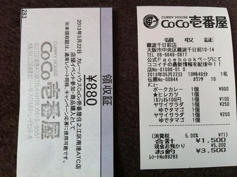 CoCo壱イベント応募レシート