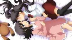 169169yande.re 254873 fate_stay_night fate_zero matou_sakura pajama stick_poster thighhighs toosaka_rin yuri