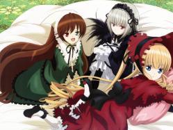43263479 dress gothic_lolita heterochromia lolita_fashion morimoto_hirofumi rozen_maiden shinku suigintou suiseiseki