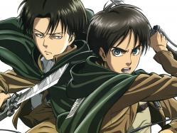 43263967 eren_jaeger levi_(shingeki_no_kyojin) male shingeki_no_kyojin sword tomita_megumi