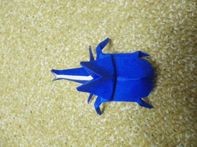 すべての折り紙 折り紙 折り方 カブトムシ : カブトムシの折り方 完成まで ...