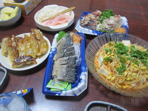 アジの刺身、焼しめサバ、豆腐と豆もやしのサラダ