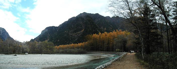カラマツ並木と梓川