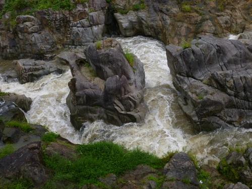 土井食堂の裏を流れている香東川です