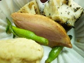 きのこ入りすり身真丈 金針菜揚 合鴨焼山椒風味 里芋と蓮根の黒胡麻煮