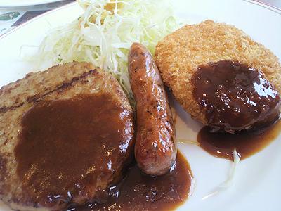 日替わりハンバーグランチ:ハンバーグ&牛肉コロッケ&バジルソーセージ…523円