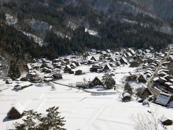 絶景 青空の白川郷合掌集落 冬景色④