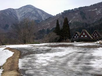 かん町 附近 も雪が減って田んぼが