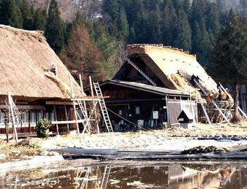 白川郷荻町合掌集落内の屋根の葺き替え作業