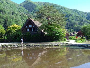 水田に映る逆さ合掌 風景シーズン