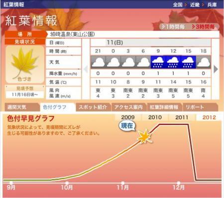 東山公園の紅葉(こうよう)情報