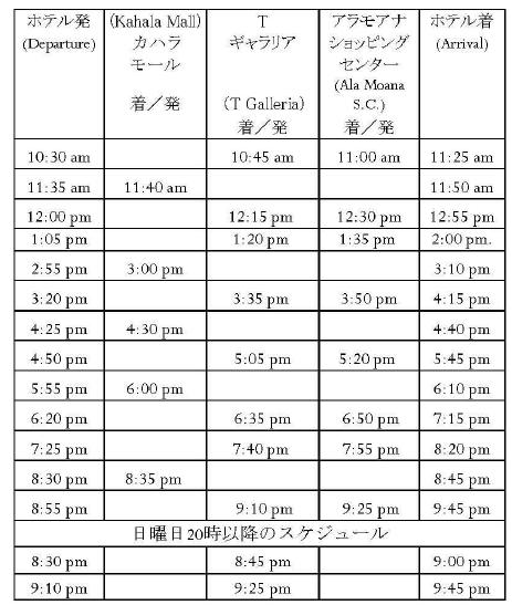 カハラホテル バス時刻表
