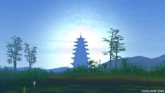 65朝焼けに浮かぶ塔を望む