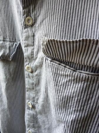 【Yarmo】FULL OPEN SHIRTS (GREY STIPE)ヤーモ フルオープンシャツ グレーストライプ