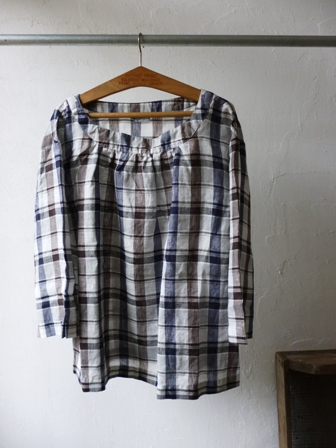 【ARMEN】 LINEN BOAT NECK 3/5SL SHIRT (CHECK) アーメンのリネンボートネック3/5袖シャツ