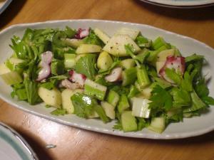 タコとセロリ・リンゴのサラダ