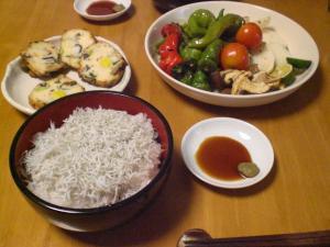 シラス丼と焼き野菜