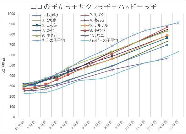 ニコの子たち成長曲線+サクラっ子+ハッピーっ子
