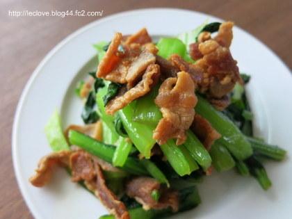 カリカリ豚と小松菜のオイスターソース炒め