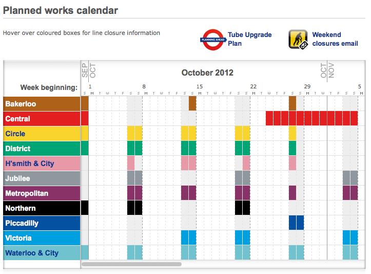 Tube Calendar