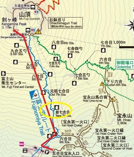 富士宮ルート地図 新七合目