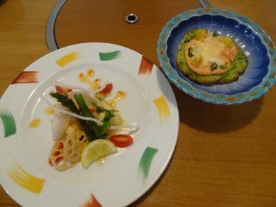 レディース御膳のパングラタンと揚げ物皿