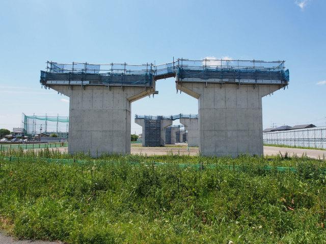 橋脚上部に足場が設置されました。