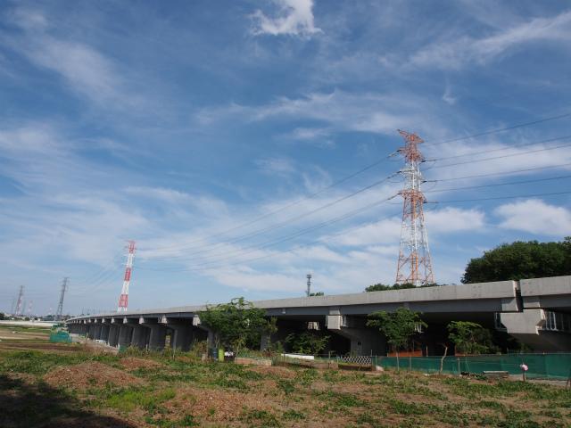 少し移動して川田谷高架橋。画面奥が桶川インター方面。