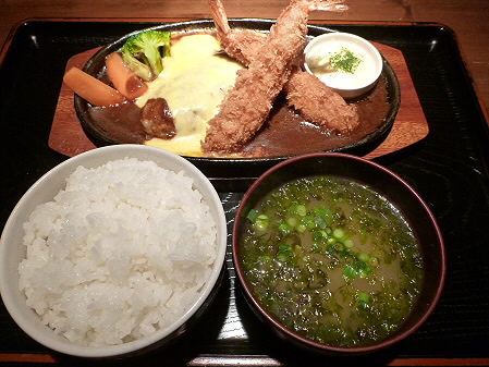 チーズハンバーグ&海老フライ03(2012.5.7)らんぷ