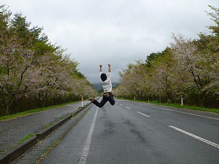 上坊牧野入口付近の桜並木01(2012.5.11)ジャンプ!