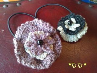 編み花ヘアゴム